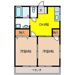 栃木県宇都宮市西川田本町2丁目の賃貸アパートの間取り
