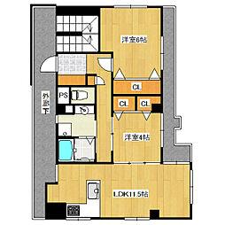 コーポ田島[301号室]の間取り