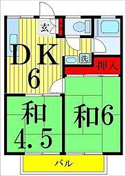 竹内ハイツ(第2・3・5)[3-205号室]の間取り