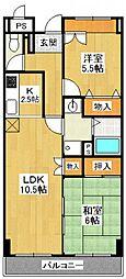 兵庫県尼崎市南武庫之荘4丁目の賃貸マンションの間取り