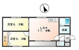 愛知県名古屋市緑区鳴海町字米塚の賃貸アパートの間取り