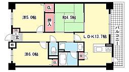 兵庫県神戸市東灘区青木6丁目の賃貸マンションの間取り