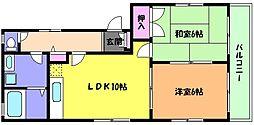 兵庫県神戸市東灘区魚崎北町6丁目の賃貸アパートの間取り