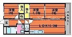岡山県岡山市中区神下の賃貸マンションの間取り