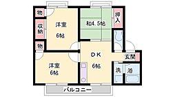 兵庫県加古川市尾上町今福の賃貸マンションの間取り
