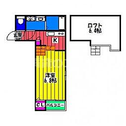 東比恵サザンテラス 1階1Kの間取り
