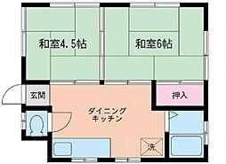 神奈川県横浜市泉区中田南1丁目の賃貸アパートの間取り