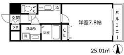 W.O.B UMEDA 6階1Kの間取り
