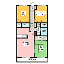 ピュア中平[3階]の間取り