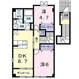 パストラルタウンB[2階]の間取り