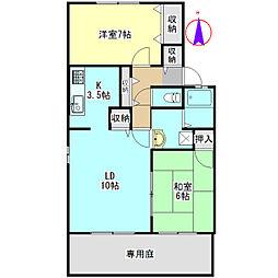 セジュールKONO D[1階]の間取り