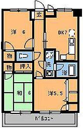 プリティ西都賀[102号室]の間取り