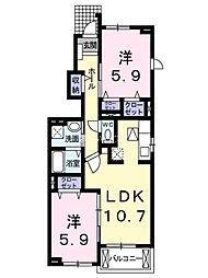 埼玉県上尾市日の出3丁目の賃貸アパートの間取り