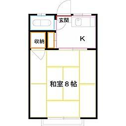 JR中央本線 三鷹駅 徒歩13分の賃貸アパート 2階1Kの間取り