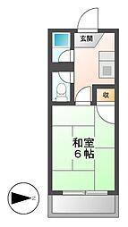 愛知県名古屋市瑞穂区白砂町2丁目の賃貸アパートの間取り