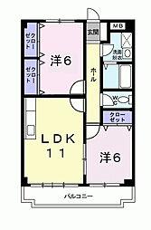 セゾン八尾東[3階]の間取り