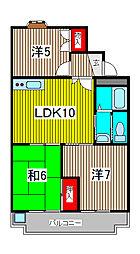 埼玉県さいたま市中央区新中里2丁目の賃貸マンションの間取り