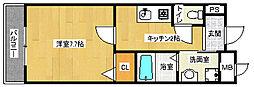 京都府京都市北区西賀茂蟹ケ坂町の賃貸マンションの間取り