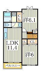 エアリーヒル 天王台 I番館[2階]の間取り