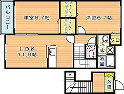 タウンコート学研台[2階]の間取り