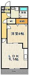 滋賀県大津市大萱7丁目の賃貸アパートの間取り