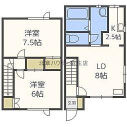 [テラスハウス] 北海道札幌市北区新琴似二条2丁目 の賃貸【/】の間取り