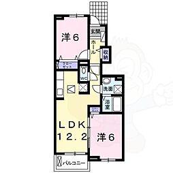南海高野線 白鷺駅 徒歩18分の賃貸アパート 1階2LDKの間取り