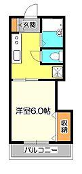 東京都国分寺市東元町1の賃貸アパートの間取り