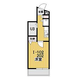 プレステージ新沢I[202号室]の間取り
