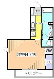 東京都小平市小川西町4丁目の賃貸アパートの間取り