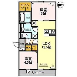 大阪府大阪市平野区瓜破東2丁目の賃貸アパートの間取り