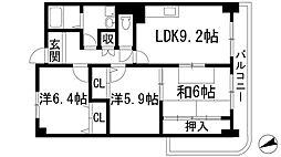 兵庫県川西市萩原1丁目の賃貸マンションの間取り