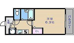 JR大阪環状線 寺田町駅 徒歩1分の賃貸マンション 8階1Kの間取り