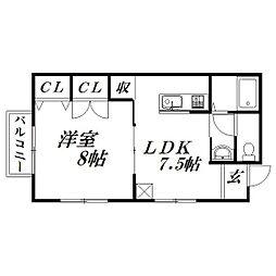静岡県浜松市中区中沢町の賃貸アパートの間取り
