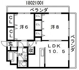 第3コーポラスローザ[6階]の間取り