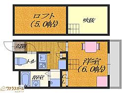 大阪府堺市堺区三宝町6丁の賃貸アパートの間取り