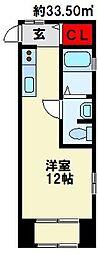 サンハイム 2階ワンルームの間取り
