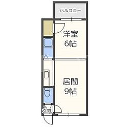 北海道札幌市豊平区中の島二条3丁目の賃貸マンションの間取り