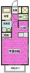 広島県安芸郡熊野町出来庭4丁目の賃貸アパートの間取り