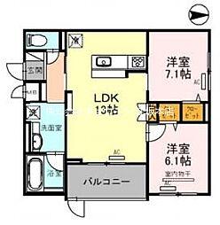 仮)D-room吹田市江の木町AY 1階2LDKの間取り