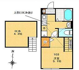 多摩都市モノレール 中央大学・明星大学駅 徒歩11分の賃貸アパート 1階1Kの間取り