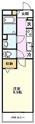 リブリ・プレーヌ 4階1Kの間取り