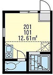 神奈川県横浜市鶴見区下野谷町2丁目の賃貸アパートの間取り