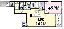 兵庫県伊丹市美鈴町1丁目の賃貸アパートの間取り