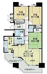 愛知県名古屋市守山区市場の賃貸マンションの間取り