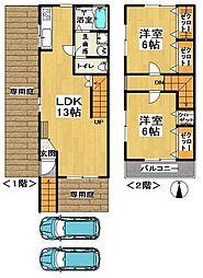 [テラスハウス] 茨城県龍ケ崎市藤ケ丘3丁目 の賃貸【/】の間取り