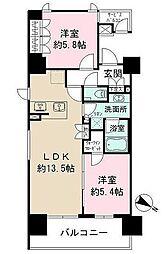 ザパークハビオ目黒 6階2LDKの間取り