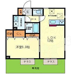 Casa上野芝 1階1LDKの間取り