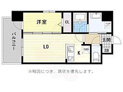 マジェスティ赤坂 8階1LDKの間取り