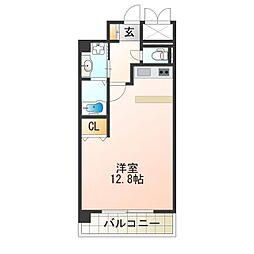 レバンガ阿倍野 5階ワンルームの間取り